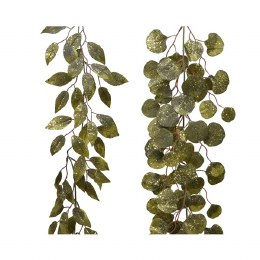 Christmas Garland Round Leaf With Glitter Moss Green150cm