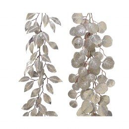 Christmas Garland Round Leaf With Glitter Champagne 150cm