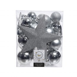 Christmas Baubles with Tree Topper Box of 33