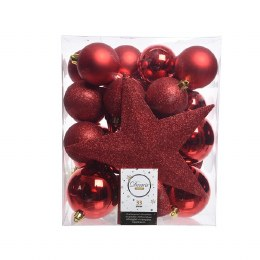 Christmas Baubles with Tree Topper Box of 33 Red