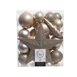 Christmas Baubles with Tree Topper Box of 33 Pearl