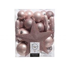 Christmas Baubles with Tree Topper Box of 33 Pink