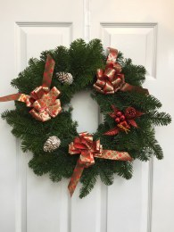 Pre-Order Fresh Noble Wreath Decorated With Tartan Bows and Pine Cones & Bell 24""