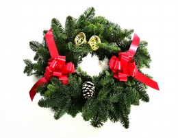 Pre-Order Fresh Noble Wreath Decorated With Red Bows and Pine Cones & Bell 24""