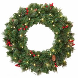 "24"" Everyday Pre-Llit Artificial Christmas Wreath With 50 Warm White Battery Operated Lights With Timer"