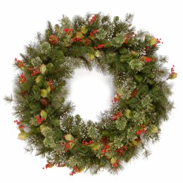24 Inch Wintry Pine Wreath With Cones and Red Berries