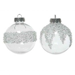 Christmas Bauble Shatterproof Transparent with Silver Ice Finish 8cm