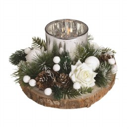 Christmas Woodland Candle Holder with Pinecones and Berries White 21cm