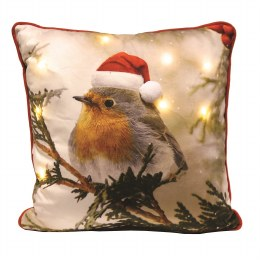 Christmas Cushion with LED Lights Robin with Santa Hat 45cm