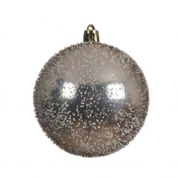 Christmas Bauble Champagne Shiny with Foam Snow 8cm