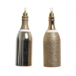Christmas Decoration Pearl Champagne Bottle with Shiny or Glitter Finish with Hanger 4 x 13cm
