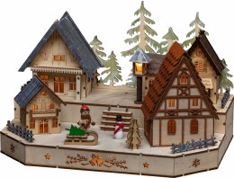 Christmas Wooden Silhouette Village with Snowman & Child