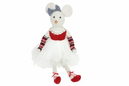 Christmas Plush Fabric Sitting Dressed Mouse Ornament 60x22x15cm