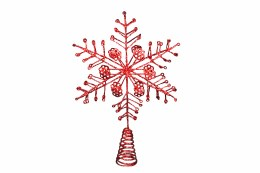 Christmas Tree  Topper Snowflake Red Wire 34x24cm
