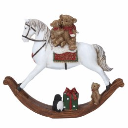 Christmas Rocking Horse With Toys 18x20cm