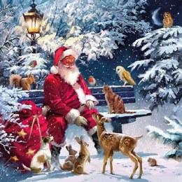 Napkin 33cm Santa On Bench
