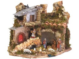 Christmas Nativity Crib With 7 Figures & Light 38x28x28cm