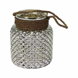 Antique Candle Holder With Rope Antique Silver Glass 23cm