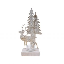 Christmas Tea Light Holder With Iron Deer & Woodland Scenery and Glass Cup 15 x 27cm