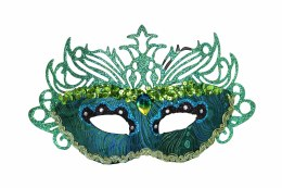 Venetian Face Mask Peacock Colour with Filigree 15x28cm
