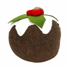 Christmas Pudding Fabric Door Stopper 16x13cm