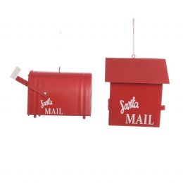 Christmas Hanging Mailbox Metal Red 6x10x10cm