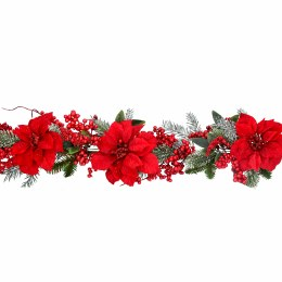 1.9m Christmas Garland With Red Fabric Poinsettias