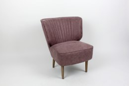 Retro Armchair Swing Revival  Lilac Velvet Material With Ash Wood Legs