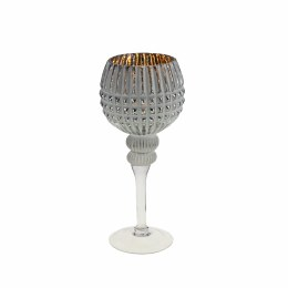 Antique Candle Holder Glass  White Brushed White Silver Finish 30cm