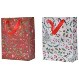 Christmas Red or White Print Paper Giftbag Large 12 x 30 x 42cm