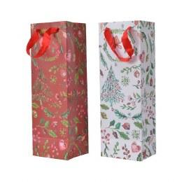 Christmas Red or White Print Bottle Bag 10 x 12 x 36cm