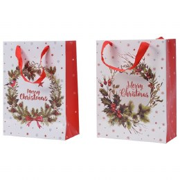 Merry Christmas Paper Giftbag with Wreath Small 8 x 18 x 24cm