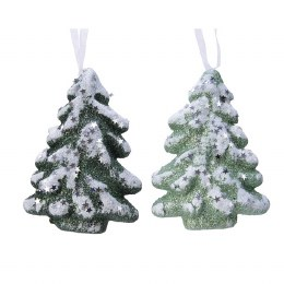 Christmas Bauble Foam Christmas tree with Glitter and Organza Hanger 4 x 9.5 x 13cm