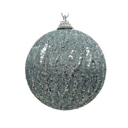 Christmas Bauble Winter Sky with Glitter and Silver Wire Hanger 8cm