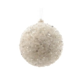 Christmas Bauble White With Sequins 8cm