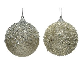 Christmas Bauble Foam Champagne Glitter with Hanger 8cm