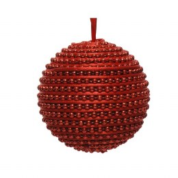 Christmas Bauble Foam Red Beads with Red Satin Hanger 8cm