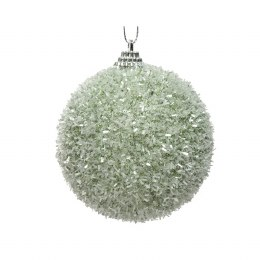 Christmas Bauble Foam Sage Green with Tinsel with Hanger 8cm