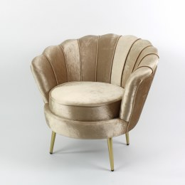 Retro Armchair Audrey - Champagne Velvet Material With Metal & Wood Finish