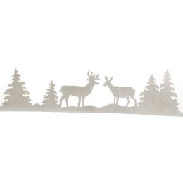 Christmas Window Border Decorations Deer & Trees White 100x25cm
