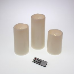 Christmas Flame Pillar Candle Waving Cream Finish Set of 3 - Battery & Timer & Remote