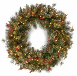 48 Inch Wintry Pine Pre Lit Wreath With 200 Warm White Lights - Battery Operated