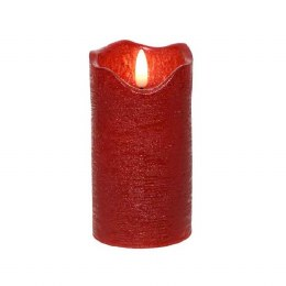 Christmas Flame Pillar Candle 3D Red Rustic Finish 13cm  - Battery Operated & Timer
