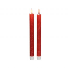 Christmas Flame Dinner Candle 3D Red Rustic Finish Set of Two - Battery Operated 24cm