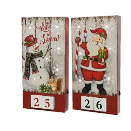 Christmas LED Wooden Countdown to Christmas 4.3x15x30cm