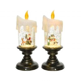 Christmas Lights Battery LED Candle with Christmas Scenery 10.5x25cm