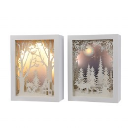 Christmas Canvas Winter Scene with Lights 6.7x15x20cm