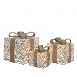 Christmas Giftbox Rattan White Set of 3 - Battery Operated