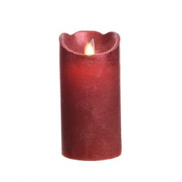Christmas Flame Pillar Candle Waving Red Rustic Finish 15cm  - Battery Operated & Timer