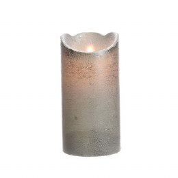 Christmas Flame Pillar Candle Waving Silver Rustic Finish 15cm  - Battery Operated & Timer